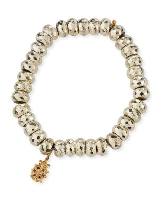Sydney Evan Metallic Faceted Pyrite Beaded Bracelet With Ladybug Charm