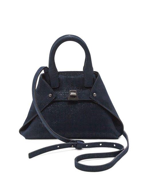 Akris | Blue Ai Micro Denim Lamé Messenger Bag | Lyst