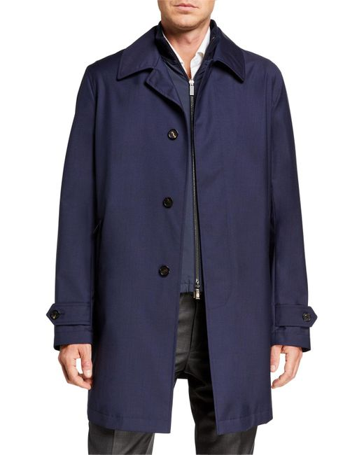 Ermenegildo Zegna Blue Men's Elements 3-in-1 Water-repellant Coat for men