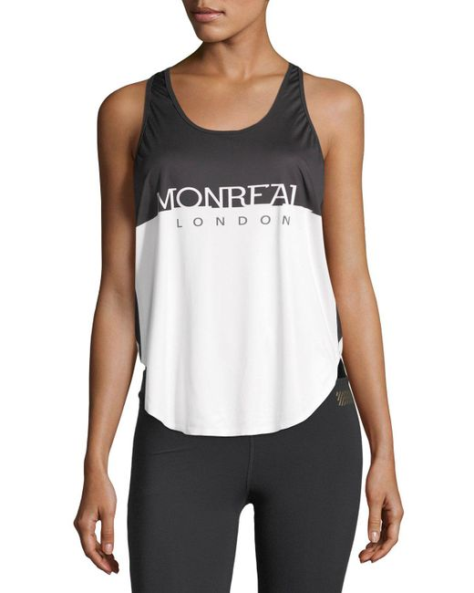 Monreal London | White Relay Scoop-neck Logo Print Top | Lyst