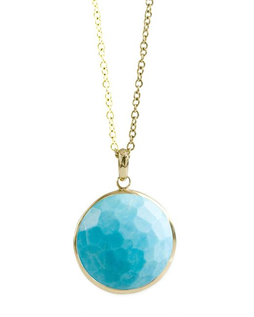 Ippolita Blue 18k Gold Rock Candy Lollipop Pendant Necklace In Turquoise