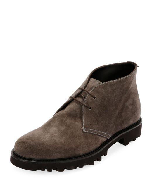 Giorgio Armani - Gray Men's Suede Chukka Boot for Men - Lyst