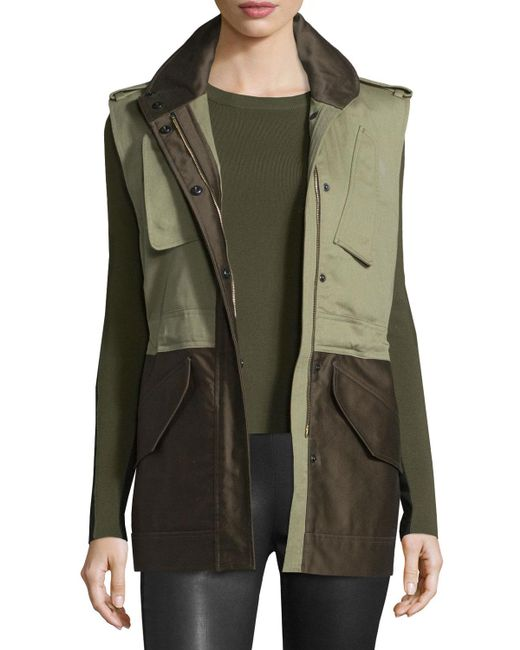 Rag & Bone | Green Kinsley Cotton Colorblock Vest | Lyst