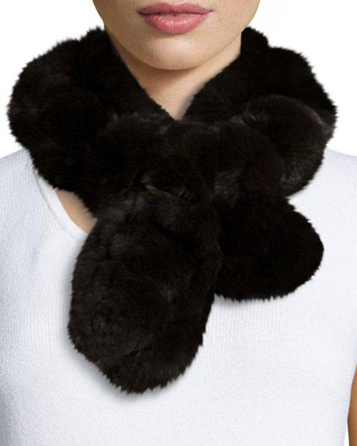 Belle Fare | Brown Rex Rabbit Fur Pompom Neck Warmer | Lyst