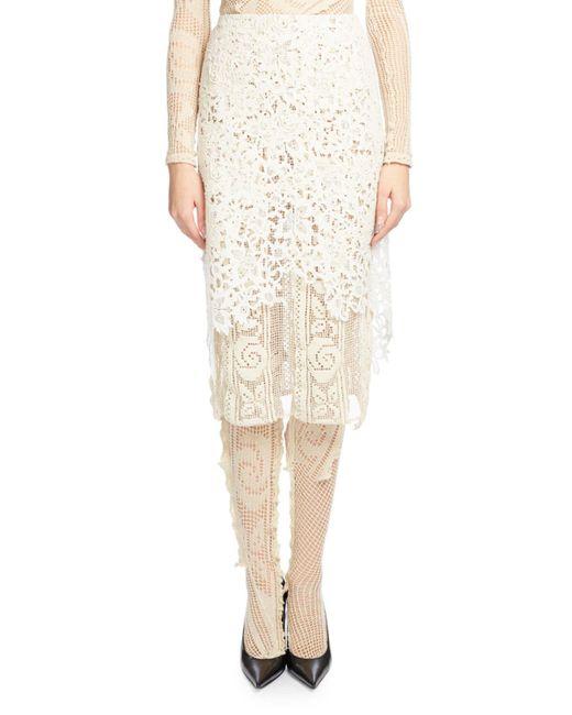 Balenciaga | Natural Layered Guipure Lace Skirt | Lyst