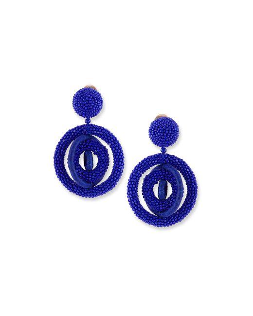 Oscar de la Renta - Blue Triple Beaded Clip-on Hoop Earrings - Lyst