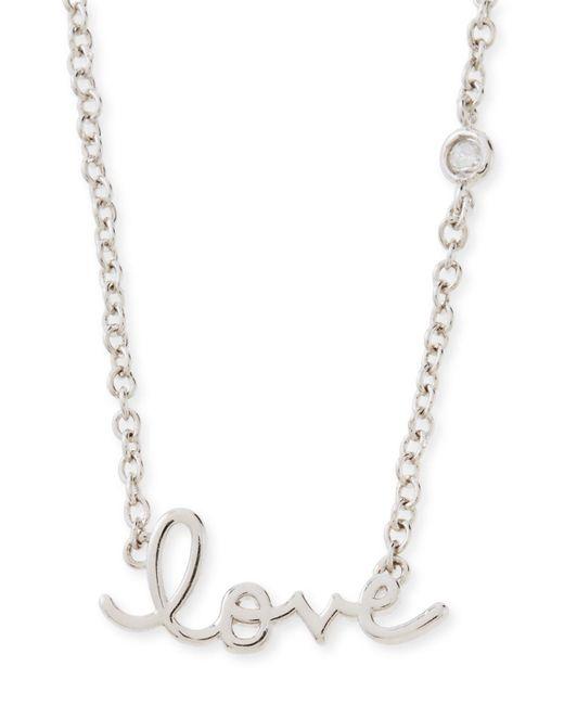 Shy By Sydney Evan | Metallic Rhodium Love Pendant Bezel Diamond Necklace | Lyst