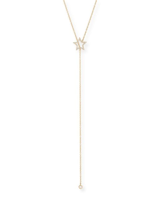 EF Collection - Metallic 14k Diamond Open Star Lariat Necklace - Lyst
