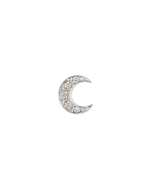 Sydney Evan - Metallic 14k Pave Diamond Crescent Moon Single Stud Earring - Lyst