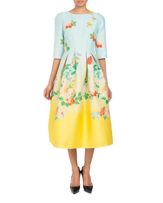 Andrew Gn - Blue 3/4-sleeve Fit-and-flare Dégradé Floral-brocade Tea-length Dress - Lyst