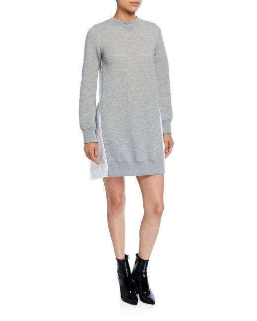 Sacai Gray Sweater Dress W/ Poplin Back