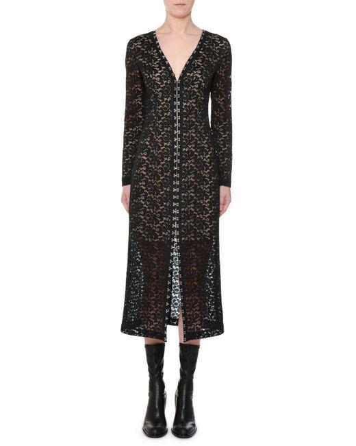 Stella McCartney - Black V-neck Hook-front Long-sleeve Lace Midi Dress - Lyst
