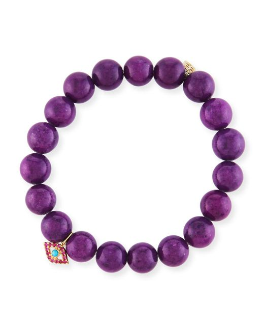 Sydney Evan - 10mm Purple Mountain Jade Beaded Bracelet With Ruby & Turquoise Evil Eye Charm - Lyst