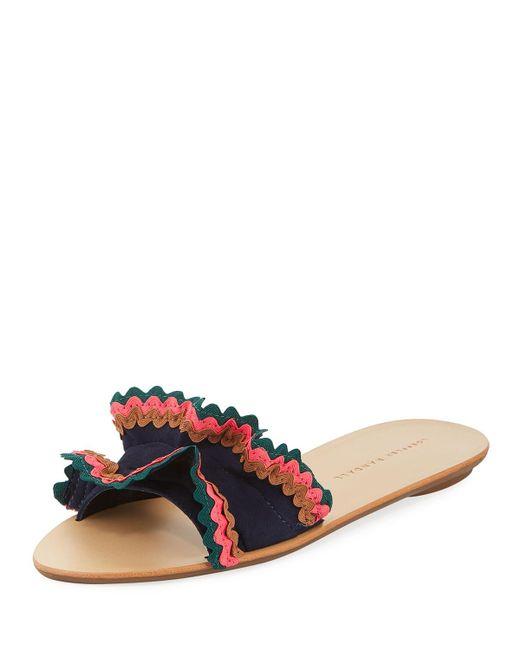 Loeffler Randall - Multicolor Birdie Suede Flat Ruffled Sandal - Lyst