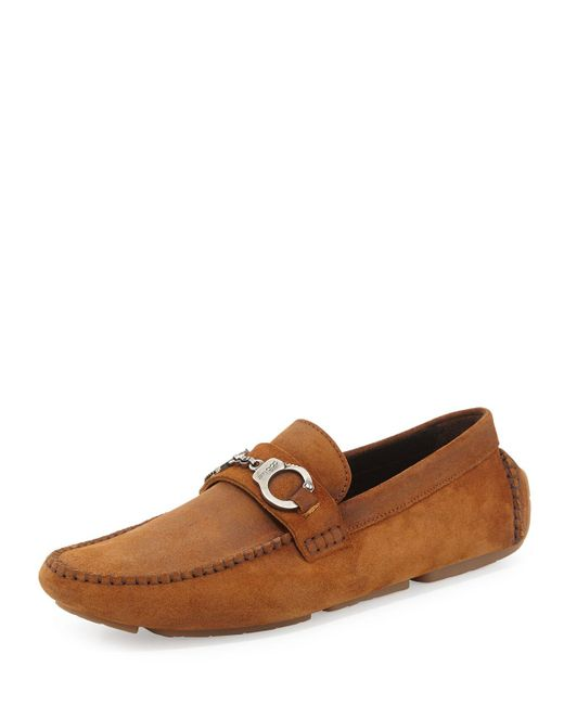 Jimmy Choo | Brown Brogan Suede Driver With Handcuff Detail for Men | Lyst