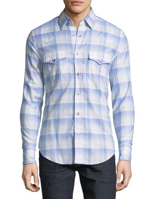 Tom Ford Blue Western Plaid Cotton Sport Shirt for men