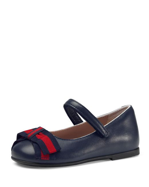 Gucci - Blue Leather Ballet Flats W/ Web Bow - Lyst