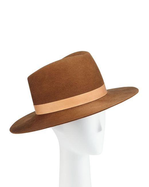 Janessa Leone White Stewart Wool Fedora Hat W/ Leather Hat Band