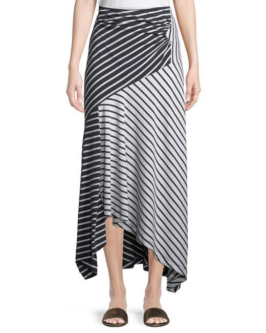 Peter Pilotto - Blue Striped Jersey A-line Midi Skirt - Lyst