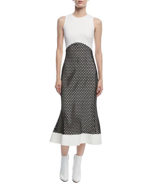 David Koma - Black Sleeveless Macrame Midi Dress - Lyst