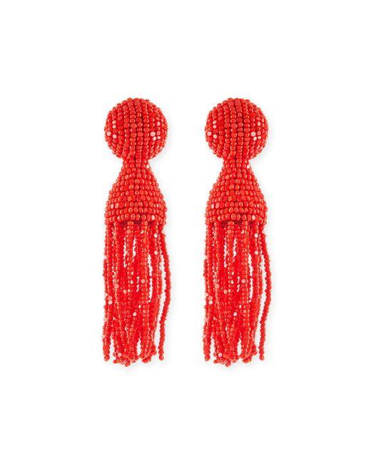 Oscar de la Renta - Red Short Beaded Tassel Clip-on Earrings - Lyst