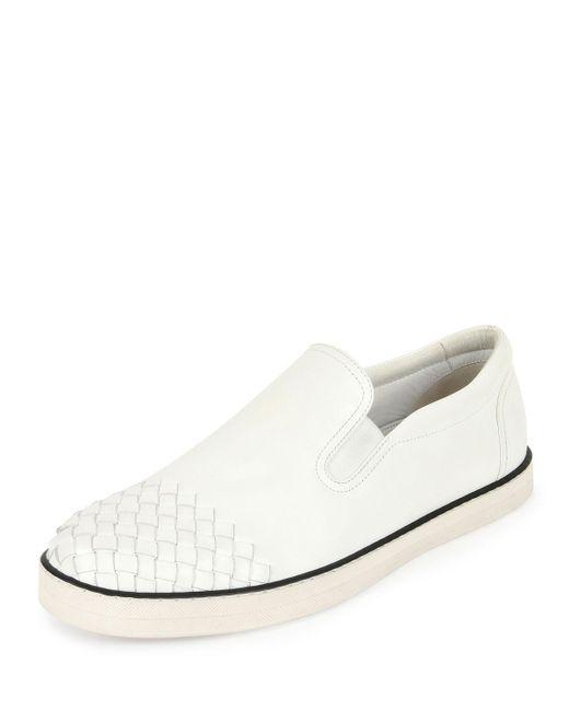 Bottega Veneta - White Woven-toe Leather Skate Shoe for Men - Lyst