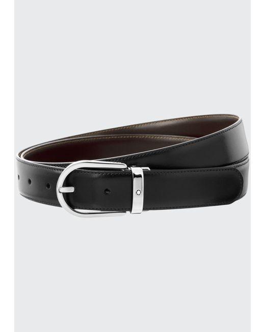 Montblanc Black Men's Horseshoe-buckle Reversible Leather Belt for men