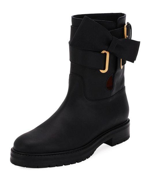 Valentino | Black Now Wrap Vitello Biker Boot | Lyst