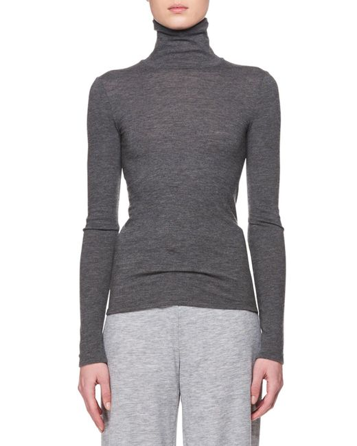 The Row - Gray Turtleneck Long-sleeve Cashmere Top - Lyst