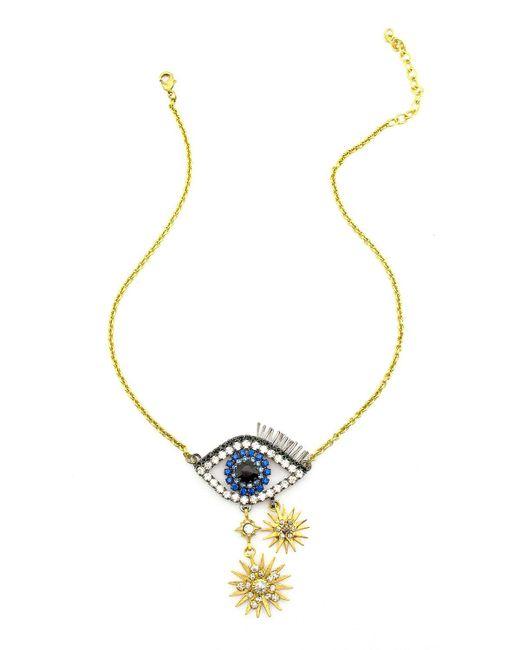 Elizabeth Cole - Blue Ravana Crystal Eye Pendant Necklace - Lyst