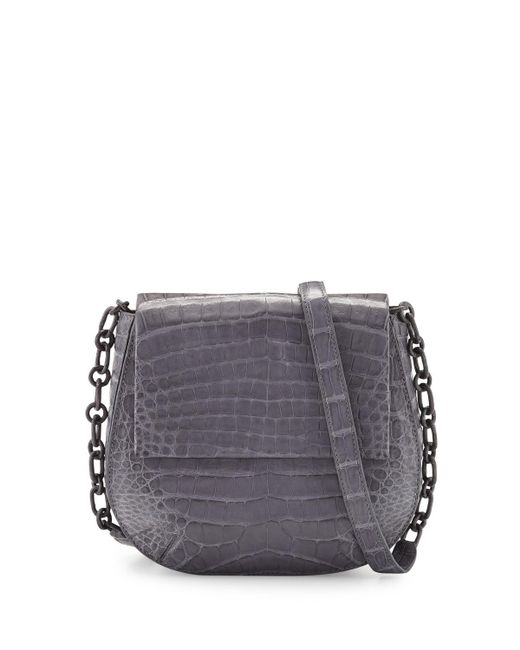 Nancy Gonzalez - Gray Round Flap-top Crocodile Crossbody Bag - Lyst