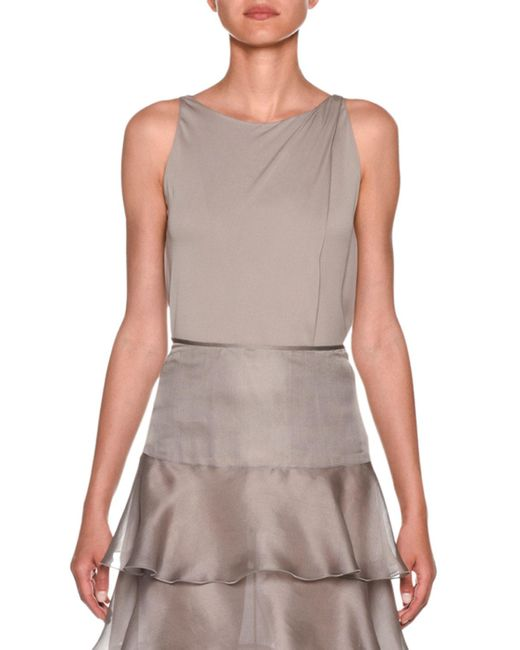 Giorgio Armani Metallic Sleeveless Silk Charmeuse Blouse