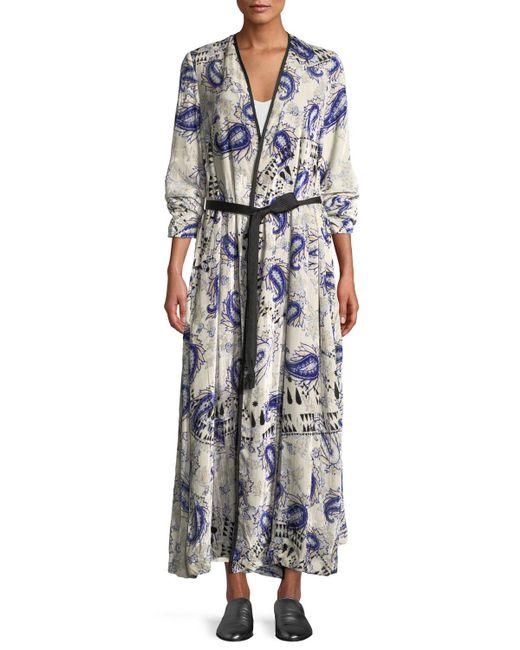 Forte Forte Blue Afrika-print Velvet Belted Robe Duster