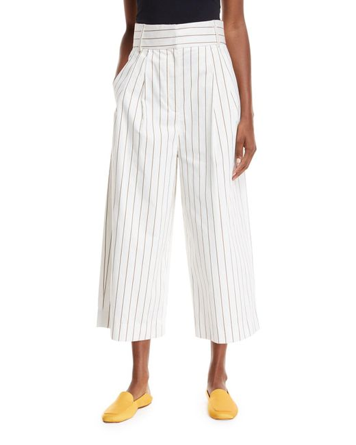 Tibi - White Sateen Stripe Wide-leg Crop Pants - Lyst