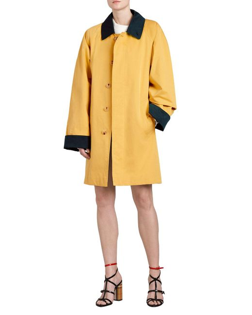 Burberry Yellow Waxed Cotton Gabardine Coat