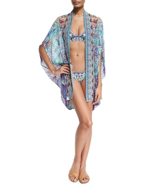 Camilla | Blue Open-front Embellished Silk Cardigan/cape Coverup | Lyst