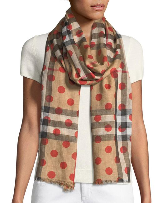 Burberry - Red Silk Gauze Polka-dot Scarf - Lyst