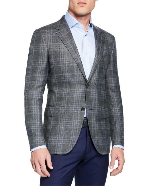 Ermenegildo Zegna Green Men's Cashmere/silk Plaid Sport Coat for men