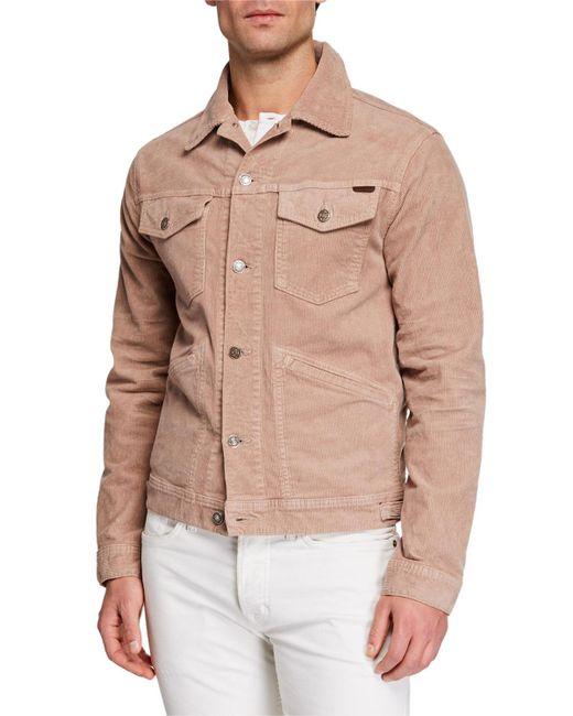 b534cfb83b6 Lyst - Tom Ford Men s Corduroy Denim Jacket in Pink for Men