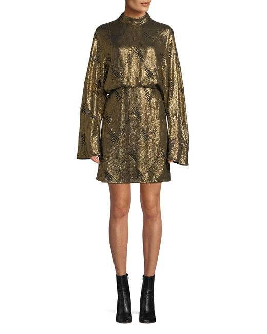 Sally Lapointe - Metallic Mock-neck Long-sleeve Stitched-sequins Mini Dress - Lyst