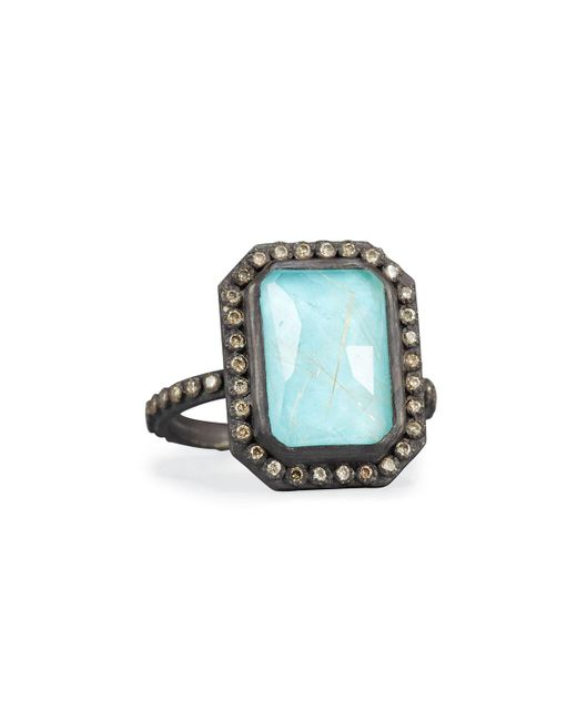 Armenta | Blue Old World Midnight Turquoise & Quartz Doublet Ring With Champagne Diamonds | Lyst