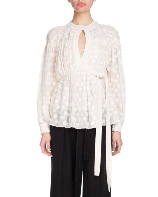Proenza Schouler White Long-sleeve Keyhole Wrap Fil Coupe Chiffon Blouse
