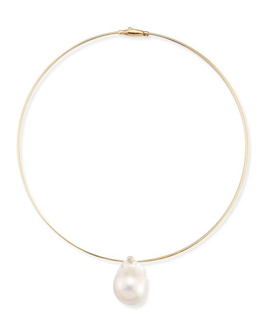 Mizuki - Metallic Medium Single Pearl Collar Necklace - Lyst