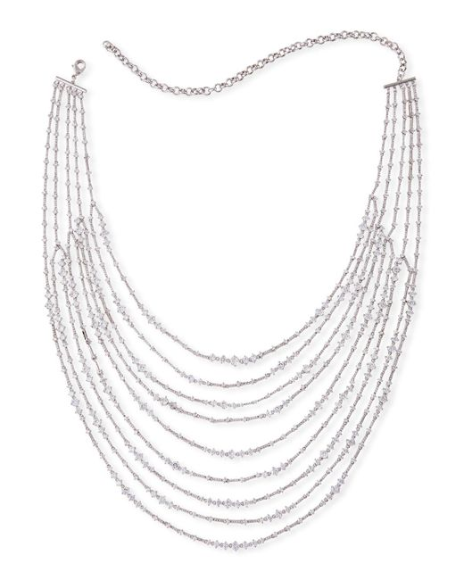 Fallon - Metallic Marquis Multi-strand Necklace - Lyst
