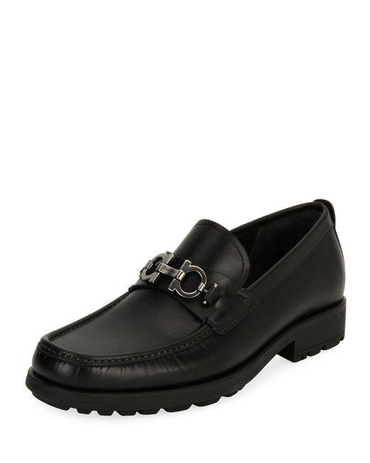 Ferragamo | Black David Suede Lug-sole Loafer for Men | Lyst
