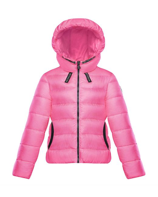Moncler Pink Chevril Hooded Puffer Coat