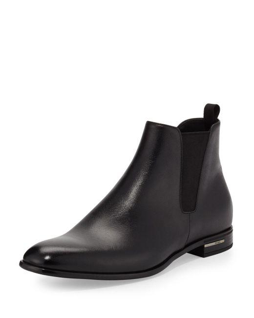Prada - Black Saffiano Leather Chelsea Boot for Men - Lyst