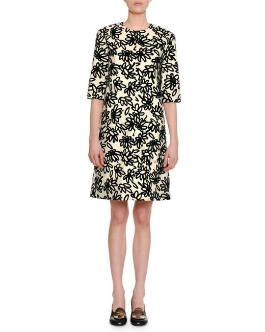 Marni - White Floral-print Half-sleeve Round-neck Shift Dress - Lyst