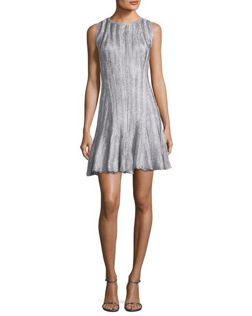 Alexander McQueen | Metallic Sleeveless Fit & Flare Dress | Lyst