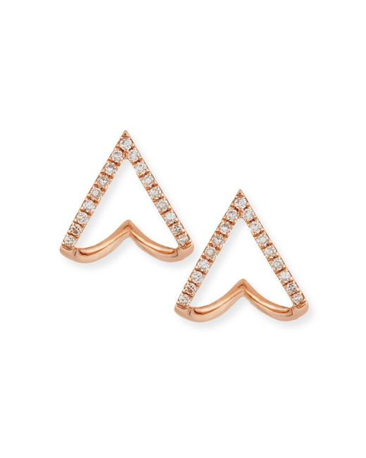 EF Collection | Metallic 14k Gold Mini Chevron Wrap Stud Earrings With Diamonds | Lyst